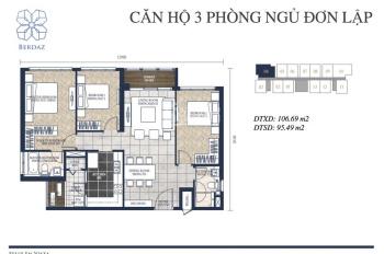 Bán gấp 3PN(106m2) giá 5,750 tỷ nhà hoàn thiện cao cấp Feliz En Vista, Q2. LH: 0908.03.6689