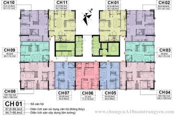 CC bán CHHC A10 - 14 Nam Trung Yên 1505 - 60m2, 2206 - 72m2, 1804 - 100m2 giá 30tr/m2, 0966292726
