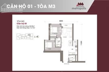 Bán căn hộ 2 phòng ngủ đồ cơ bản tại tòa M3 của CDT Vinhomes Metropolis 6,6 tỷ bao tất cả các phí.