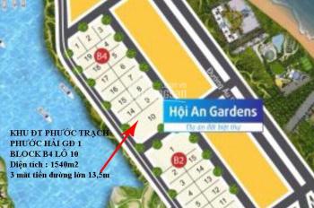 Bán lô đất biển Hội An 3 mặt tiền đường 13,5m, Block B4 - 10 - 1540m2, giá tốt nhất. LH: 090586792