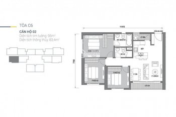 Bán căn 95m2 toà C6 dự án Vinhomes D'Capitale ban công Đông Nam view hồ điều hoà 3 phòng ngủ 4,7 tỷ