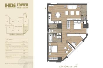 Bán căn góc A5 91m2, HDI Tower - 55 Lê Đại Hành, 2 mặt view hướng Tây Bắc, Đông Bắc, 0972971295