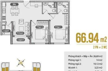 Chính chủ cần bán gấp căn hộ chung cư, 66,9m2 (2PN + 1) bằng giá HĐMB 1,90 tỷ. LH: 0979488536