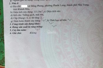 Cần bán đất mặt tiền Lê Hồng Phong, phường Phước Long, Nha Trang
