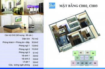 Cần bán gấp: Căn 03 - 76,1m2 - 3PN, tầng trung dự án Smile Building. LH 0902102721