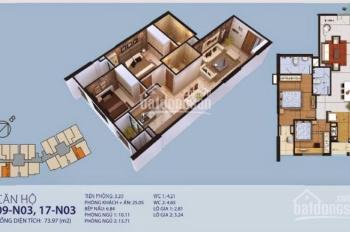 Bán căn 17 tầng trung 2 ngủ, diện tích 73,9m2 có sổ đồ cơ bản chung cư New Horizon số 87 Lĩnh Nam