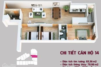 Bán gấp căn hộ chung cư 14A tầng 27, DT 88m2, 3PN, giá từ 18,2 triệu/m2 bàn giao thô, 0986324253