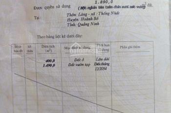 Bán mảnh đất dân 1890m2 có nhà cấp 4 - gần TĐC Thôn Làng, Xã Thống Nhất, Hoành Bồ