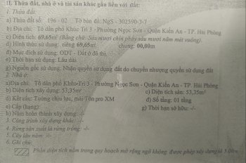 Chính chủ cần bán nhà tại Khúc Trì, Kiến An, Hải Phòng. Liên hệ 0966132786