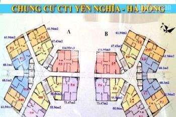 Bán gấp căn góc CC CT1 Yên Nghĩa, T1510, DT: 61.9m2, giá bán 13tr/m2. LH chính chủ 0961958301