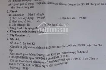 Nhà bán mặt tiền kinh doanh đường Sơn Kỳ, DT: 3.5x21m giá 7.79 tỷ Q. Tân Phú
