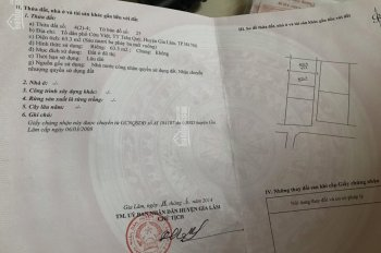 Chính chủ cần bán mảnh đất 63m2 tại Cửu Việt, Trâu Quỳ, Gia Lâm có sổ đỏ chính chủ. LH: 0978983732