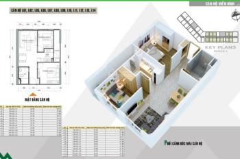 Bán căn hộ 2 ngủ, S= 55m2, giá 1,035 tỷ, bao phí, dự án HH2 Xuân Mai Complex, Dương Nội