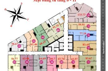 Chính chủ cần tiền bán căn 1506, DT 63,98m2 chung cư Tháp Doanh Nhân, giá 1.3tỷ (có TL). 0936104216