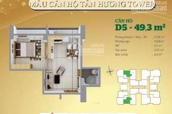 Bán CH Tân Hương Tower (118 Tân Hương) đủ nội thất. DT 50m2, 2 ban công, tầng thấp view công viên