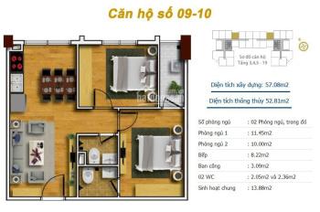 LH: 0971285068, chính chủ bán căn 58m2 chung cư Tecco Thanh Trì, 2PN 2VS, giá bán 1,370 tỷ