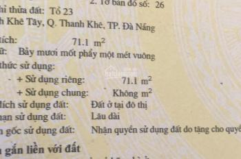 Bán lô đất góc 2 mặt kiệt Mẹ Nhu. TT Thanh Khê. DT: 71m2, giá sập chỉ 1,99 tỷ