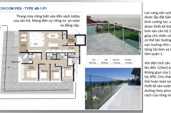 Bán 4BR/PES căn hộ có sân vườn view trực diện  Sông - Quận 1, diện tích 288m2. Hàng hiếm chỉ 1 căn