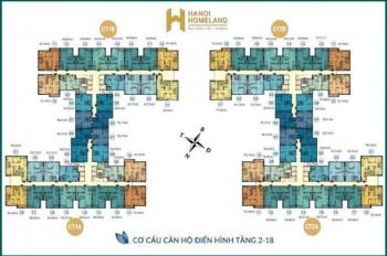 Bán gấp căn 1207, DT 58,21m2, chung cư Hà Nội Homeland, Long Biên, giá 1.320 tỷ LH 0971285068