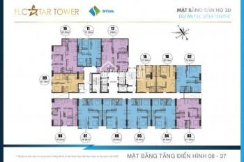 1,6 tỷ CH 80m2, 2PN, 2VS, đầy đủ nội thất, căn góc, tại FLC Star Tower, 418 Quang Trung, đã có sổ