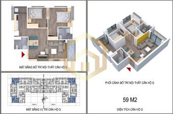 Bán căn góc chung cư NHS Phương Canh, Nam Từ Liêm, Hà Nội 59m2, 2 PN - 2 VS - 2 ban công: 944 triệu