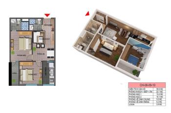 Bán căn 58m2 chung cư Ecohome 3 Từ Liêm, Hà Nội giá 958 triệu