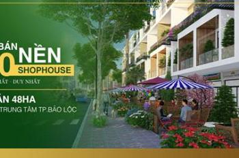 Bán sỉ 10 nền shophouse ngay trung tâm TP Bảo Lộc, chiết khấu 10%, SHR, 100% TC