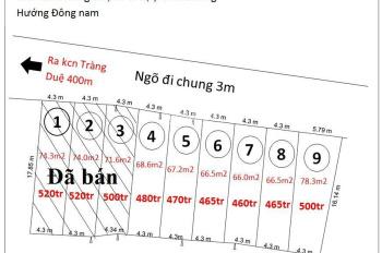 Bán đất phân lô cách cổng chính KCN Tràng Duệ 400m