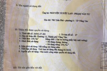 Cần tiền gấp nên bán 2 căn nhà mặt tiền hẻm 1796 đường Võ Nguyên Giáp, phường 12, TPVT