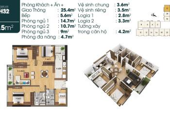 Bán căn hộ 3PN + 1 góc hoa hậu 87.5m2 cuối cùng tại dự án TSG, view trực tiếp Vinhomes Riverside