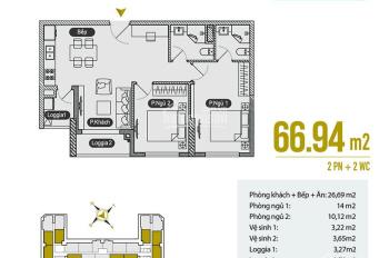 Bán gấp 07 tòa B, 66m2, 2PN chung cư Anland Premium Nam Cường, đủ nội thất, giá 1,82 tỷ