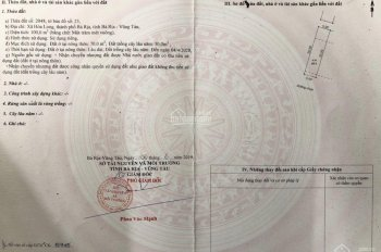 Chính chủ cần bán lô đất thổ cư 100 % DT 5*20m tại Hoà Long - TP Bà Rịa, giá 635tr. LH 0931234668