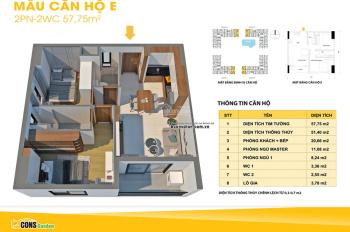 Căn hộ Bcons Garden căn góc 57.75m2, 2PN-2WC, tầng 11-12-16-19-20-22 giá tốt. Thanh toán trước 30%