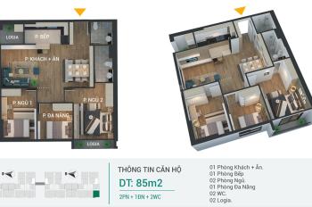Chỉ 2tỷ sở hữu ngay căn hộ 3 Ngủ, 2WC, 2Logia View Hồ và CV cây xanh Vị trí vàng Quận Hoàng Mai