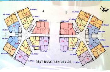 Chính chủ bán 2 CH CT1 Yên Nghĩa, căn 1003 - 61,94m2, căn 1808 - 55,95m2, giá 13tr/m2. 0936104216