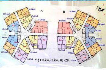 Bán CH chung cư nhà ở cán bộ Chiến sĩ tòa CT1 tầng 1501 dt 60.1m2, giá bán 14tr/m2. LH 0983072573