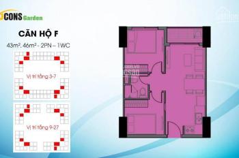 Bán căn 45m2 Bcons Garden, 2PN, 1WC giá đợt 1, tầng 6
