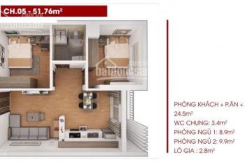 Cho thuê căn hộ 2PN + 1WC DT: 51,7m2 chung cư PHC Complex 158 Nguyễn Sơn, liên hệ 0971508587
