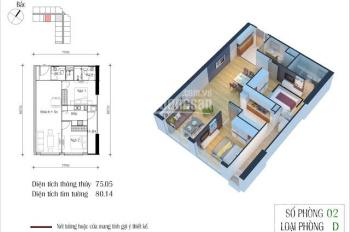 Cần bán căn hộ 75m2, 2PN tại Eco Green City Nguyễn Xiển giá 2.25 tỷ bao phí, LH 0964747222