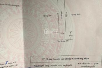 Chuyển nhượng lô đất giá rẻ mặt đường 208, gần chi cục thuế huyện An Dương - Hải Phòng