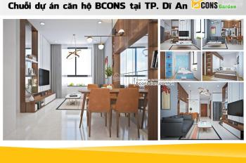 Căn hộ Bcons Garden 2PN-2WC 57m2 bếp kính, có logia thiết kế hiện đại phù hợp mua ở đầu tư cho thuê