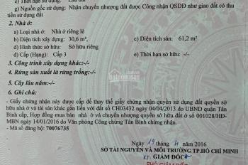 Nhà bán chính chủ 195/48 Phạm Văn Bạch 2 tỷ 650