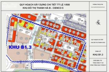 Bán đất liền kề Thanh Hà vị trí vip trục đường 30m, vị trí kinh doanh: 0967545539