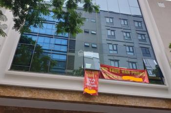 Cho thuê nhà mặt phố Trần Quốc Hoàn, Cầu Giấy, Hà Nội. DT 110m2 * 8 tầng, MT 8,1m, giá 180 tr/th