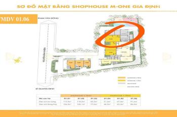 Cho thuê gấp Shophouse M - One phường 1 GV - mặt bằng tổng 95m2 - xuyên suốt thích hợp văn phòng