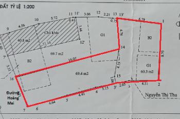 Bán nhà đất mặt phố đường Hoàng Mai 129m2, có thể lấy 1/2, khu trung tâm, kinh doanh tốt