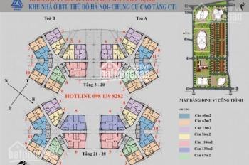 Chính chủ cần tiền bán chung cư CT1A Yên Ngiã tầng 1003, DT 61.94m2 giá bán 14tr/m2: 0904999135