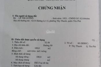 Cần bán gấp nhà trọ đường S9, phường Tây Thạnh, Tân Phú. 4mx25m
