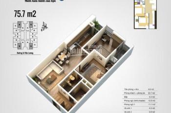 Bán căn hộ 75m2, 2PN cửa Đông Nam chung cư The Pride Hải Phát, giá 1,47 tỷ nội thất cơ bản