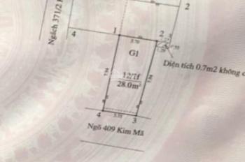 Bán mảnh đất có nhà cấp 4 đang cho thuê ngõ 409 Kim Mã, Ba Đình, giá 3,25 tỷ